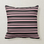 [ Thumbnail: Pink & Black Colored Pattern Throw Pillow ]