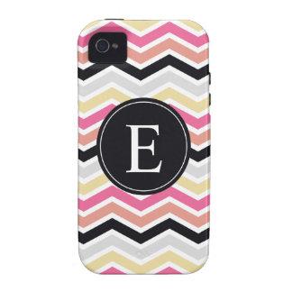 Pink Black Coral Chevron Monogram Case-Mate iPhone 4 Covers