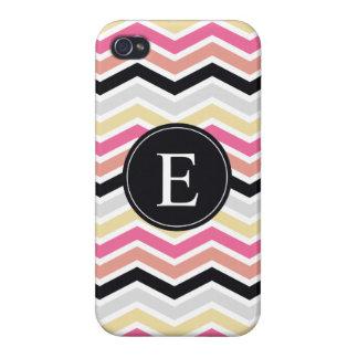 Pink Black Coral Chevron Monogram Case For iPhone 4