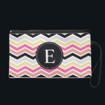 """Pink Black Coral Chevron Monogram Wristlet<br><div class=""""desc"""">Customise this vibrant  pink,  coral,  black,  yellow and grey / gray zig zag chevron pattern  monogram design with the letter of your choice.</div>"""