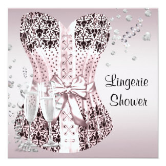 Pink Black Corset Lingerie Bridal Shower Card