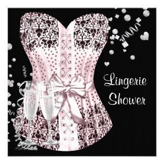 Pink Black Corset Lingerie Bridal Shower Custom Announcements