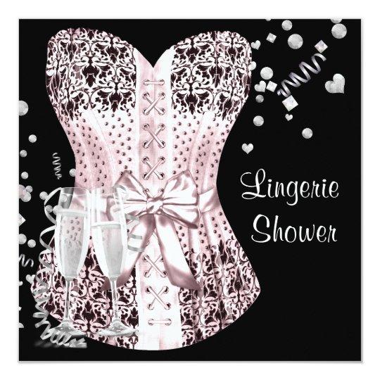 455d7cb86fa Pink Black Corset Lingerie Bridal Shower Invitation