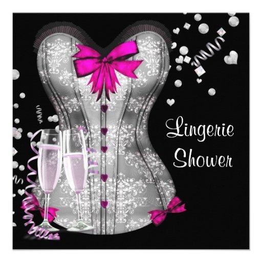 Pink Black Corset Lingerie Bridal Shower Invitations