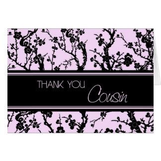 Pink Black Cousin Bridesmaid Thank You Card