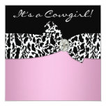 Pink Black Cow Print Cowgirl Baby Shower Personalized Invites