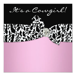 """Pink Black Cow Print Cowgirl Baby Shower 5.25"""" Square Invitation Card"""