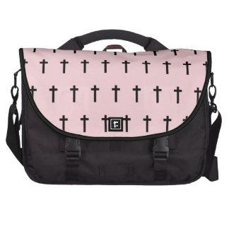 Pink Black Crosses Commuter Bag