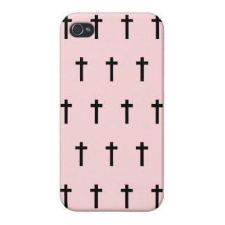 Pink Black Crosses Cover For iPhone 4