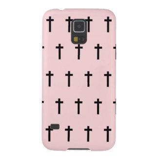Pink Black Crosses Galaxy S5 Case