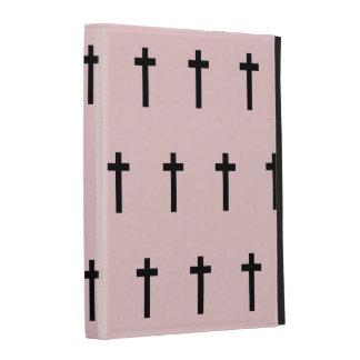 Pink Black Crosses iPad Folio Cases