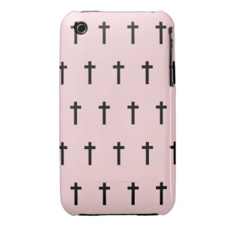 Pink Black Crosses iPhone 3 Case
