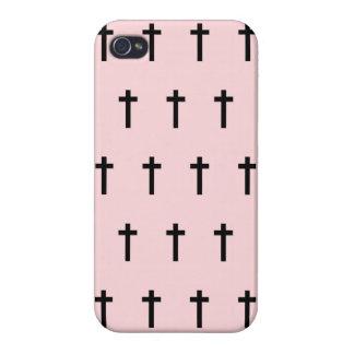 Pink Black Crosses iPhone 4 Covers