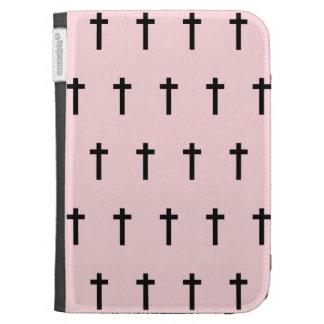 Pink Black Crosses Kindle 3G Cover