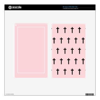 Pink Black Crosses Kindle Fire Skins