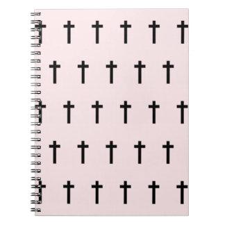 Pink Black Crosses Notebook