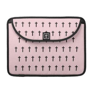 Pink Black Crosses Sleeve For MacBook Pro