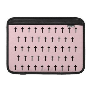 Pink Black Crosses Sleeves For MacBook Air