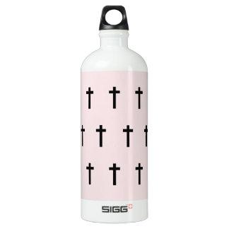 Pink Black Crosses Water Bottle