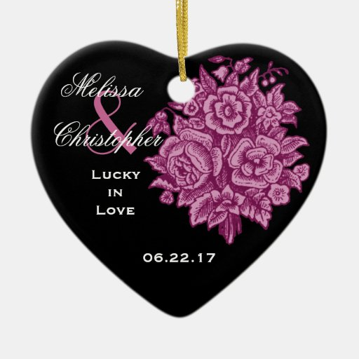 PINK BLACK Custom Bride Groom Wedding Rose Bouquet Double-Sided Heart Ceramic Christmas Ornament