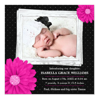 Pink Black Daisy Girl Photo Birth Announcement