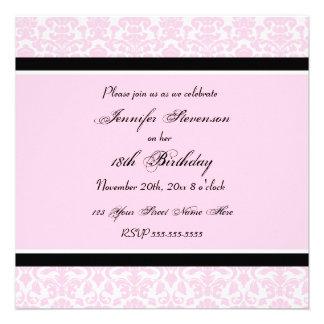 Pink Black Damask 18th Birthday Party Invitations