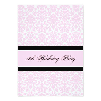 "Pink Black Damask 18th Birthday Party Invitations 5"" X 7"" Invitation Card"