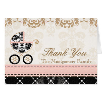 Pink Black Damask Baby Carriage Shower Thank You Card