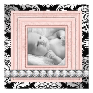 Pink Black Damask Baby Girl Birth Announcements