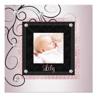 Pink Black Damask Baby Girl Photo Birth Card