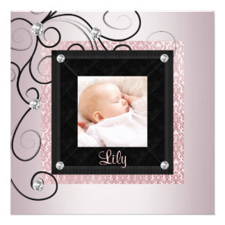 Pink Black Damask Baby Girl Photo Birth Announcements