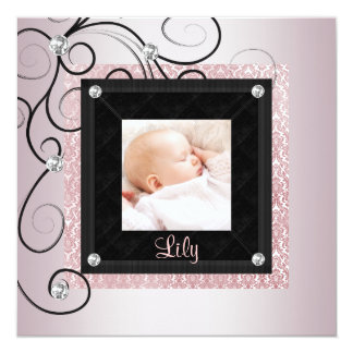 Pink Black Damask Baby Girl Photo Birth 5.25x5.25 Square Paper Invitation Card