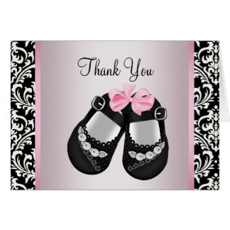 Pink Black Damask Baby Girl Shower Thank You Cards