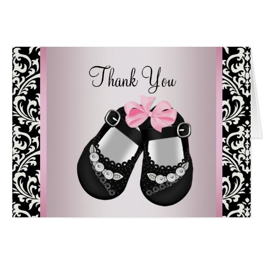 Pink Black Damask Baby Girl Shower Thank You Cards