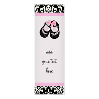 Pink Black Damask Baby Shower Favor Tags Mini Business Card