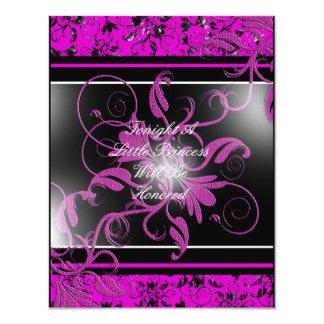 "Pink Black Damask Baby Shower Invitation 4.25"" X 5.5"" Invitation Card"