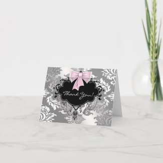 Pink Black Damask Baby Shower Thank You Card card