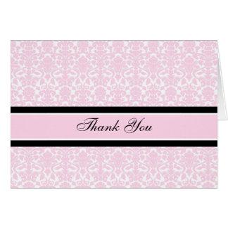 Pink Black Damask Baby Shower Thank You Card