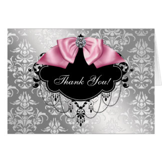 Pink Black Damask Baby Shower Thank You Card