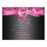 Pink/Black Damask & Bow Birthday RSVP Card Invite