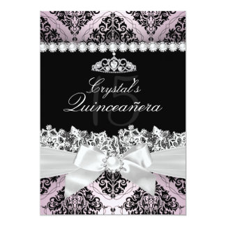 Pink & Black Damask & Bow Quinceanera Invite