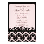 Pink & Black Damask Bridal Shower Invitation