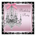 Pink Black Damask Chandelier Birthday Party Card
