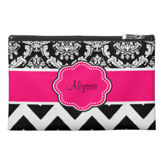 Pink Black Damask Chevron Monogram Travel Accessory Bag
