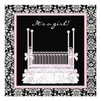 Pink Black Damask Crib Baby Girl Shower Personalized Invitations