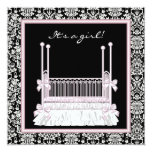 Pink Black Damask Crib Baby Girl Shower 5.25x5.25 Square Paper Invitation Card