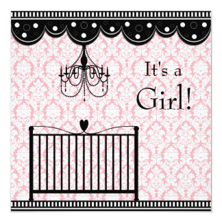 Pink Black Damask Crib Chandelier Baby Shower Card