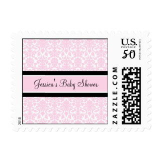 Pink Black Damask Custom Baby Shower Stamps