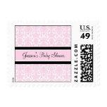 Pink Black Damask Custom Baby Shower Stamps
