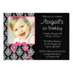 Pink Black Damask Girl Photo 1st Birthday Party Card